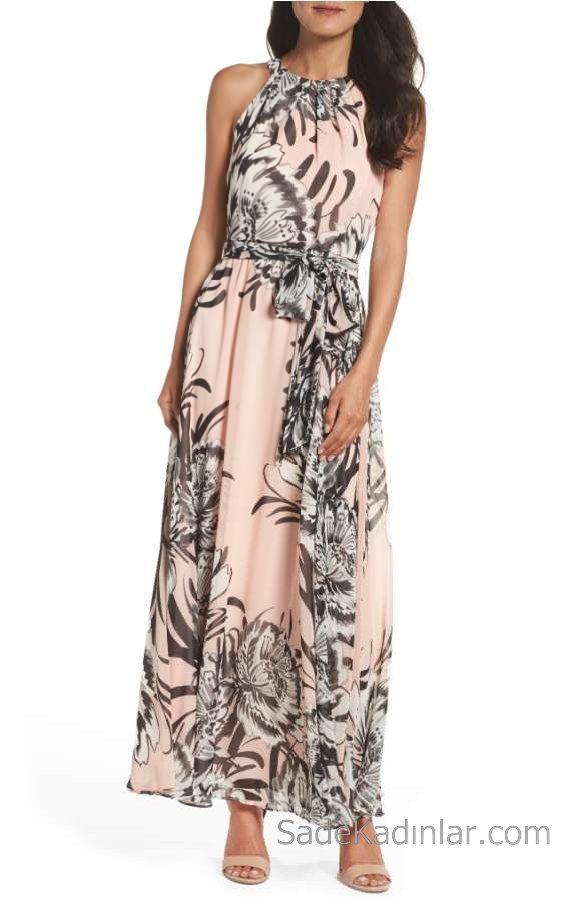 2020 Yazlik Cicekli Sifon Elbise Modelleri Pudra Uzun Halter Yaka Cicek Desenli Maksi Elbiseler Elbise Modelleri Sifon Elbise