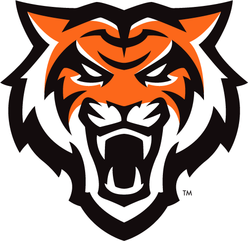 Idaho State Bengals Primary Logo 2019 Pres The Head Of A Bengal Tiger Facing The Viewer In Orange Black And Whi Tiger Face Idaho State Sports Logo Design