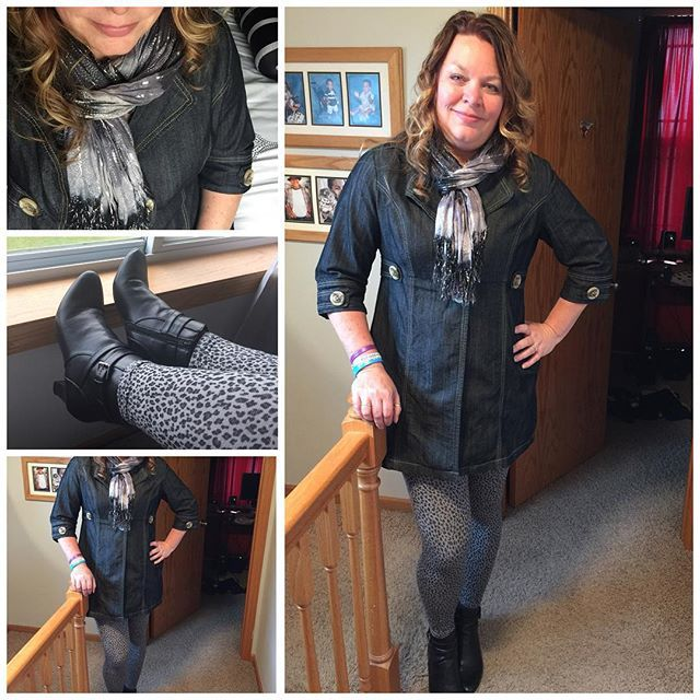 Denim jacket animal print leggings booties and a scarf. Great fall day outfit. Practical and a tad sassy.