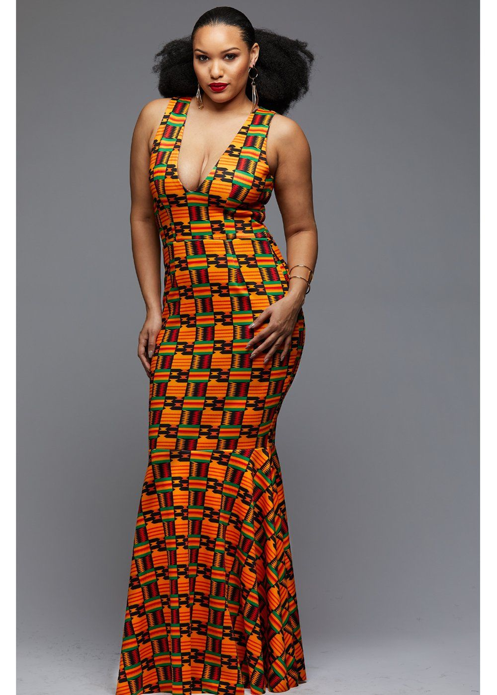 Zahra African Print V-Neck Formal Gown (Black/Yellow Kente ...