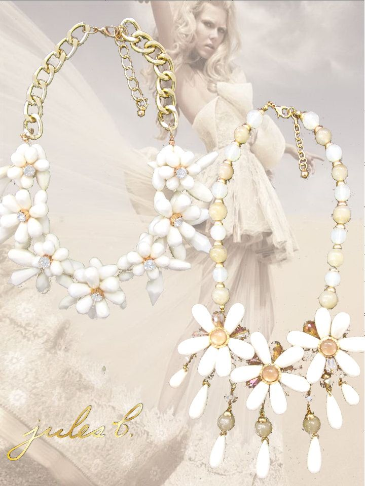 pretty cream flowers for spring and summer #flowernecklace #softandfeminine #pretty #springjewelry #julesbjewelry