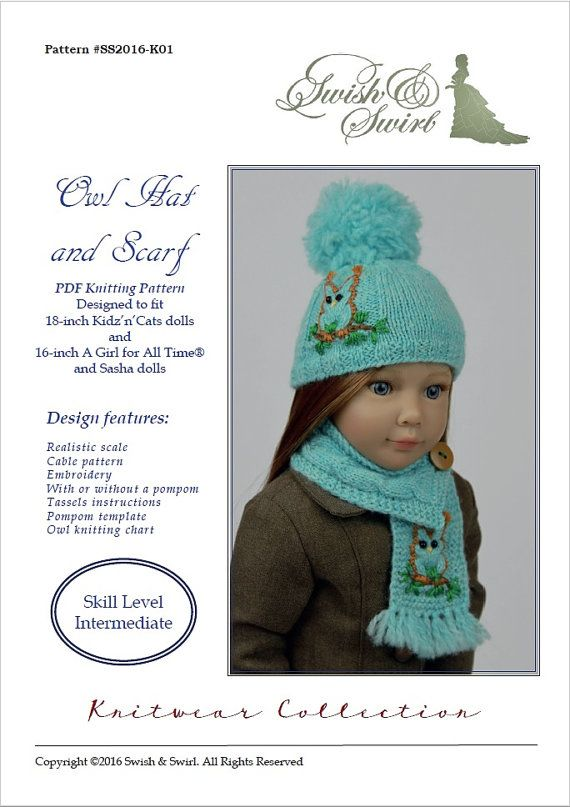 PDF Knitting Pattern #SS2016-K01. Owl Hat and Scarf for 16-18-inch ...