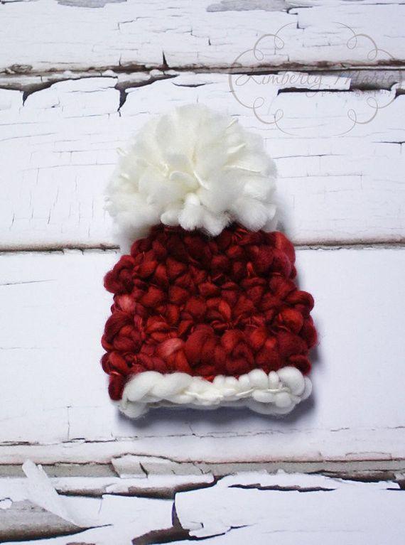 Santa Merino Newborn Pom Hat
