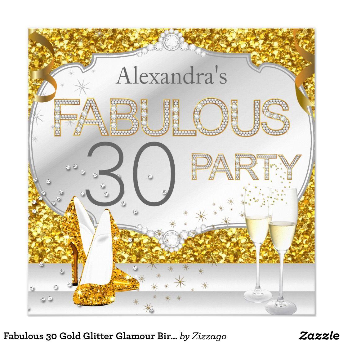 Fabulous 30 Gold Glitter Glamour Birthday Party Card Fabulous 30