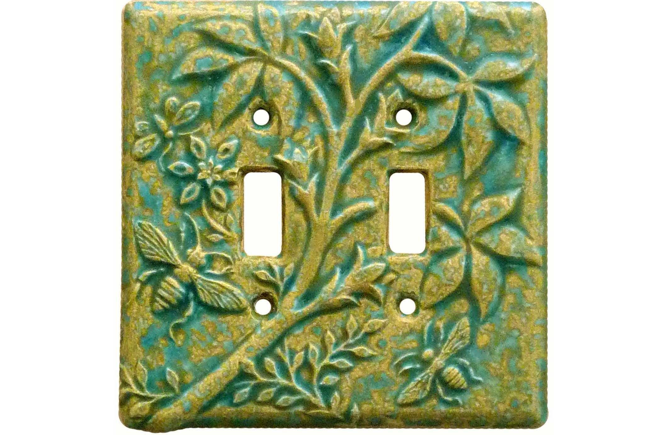 Botanical Double Toggle Ceramic Switch Plate sculpted by Beth ...