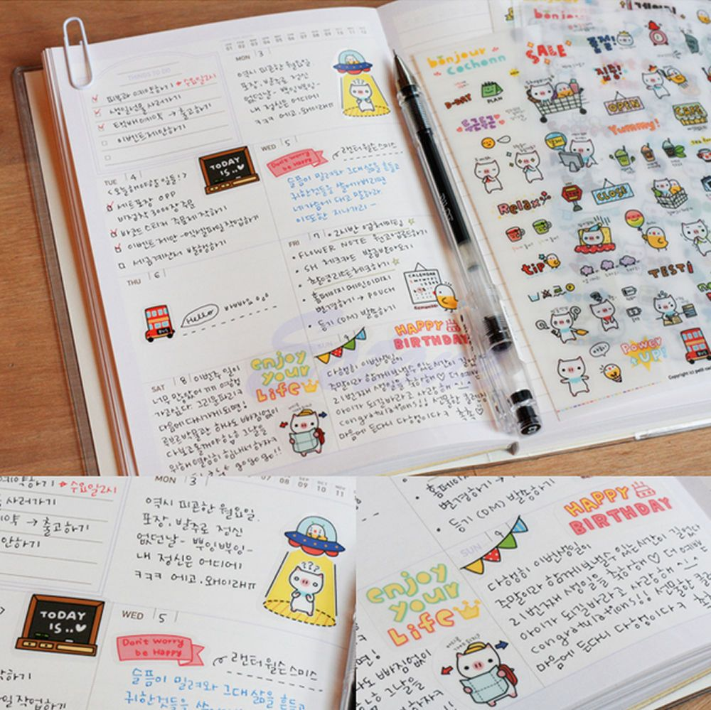 6 Sheets My Little Friend Scrapbook Calendar Diary Planner Stickers Decoration