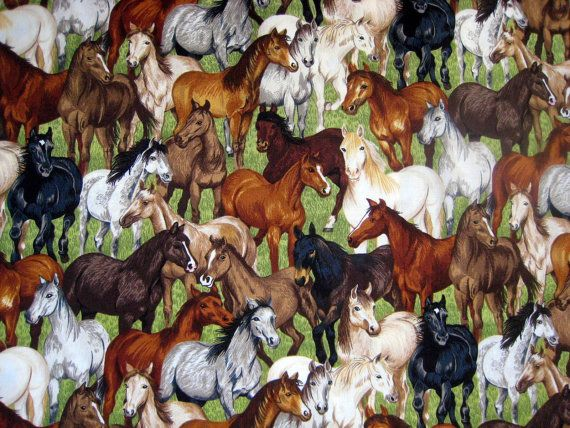 Gymkhana Horse Herd Cotton Quilting Fabric  by NewEnglandQuilter, $6.00