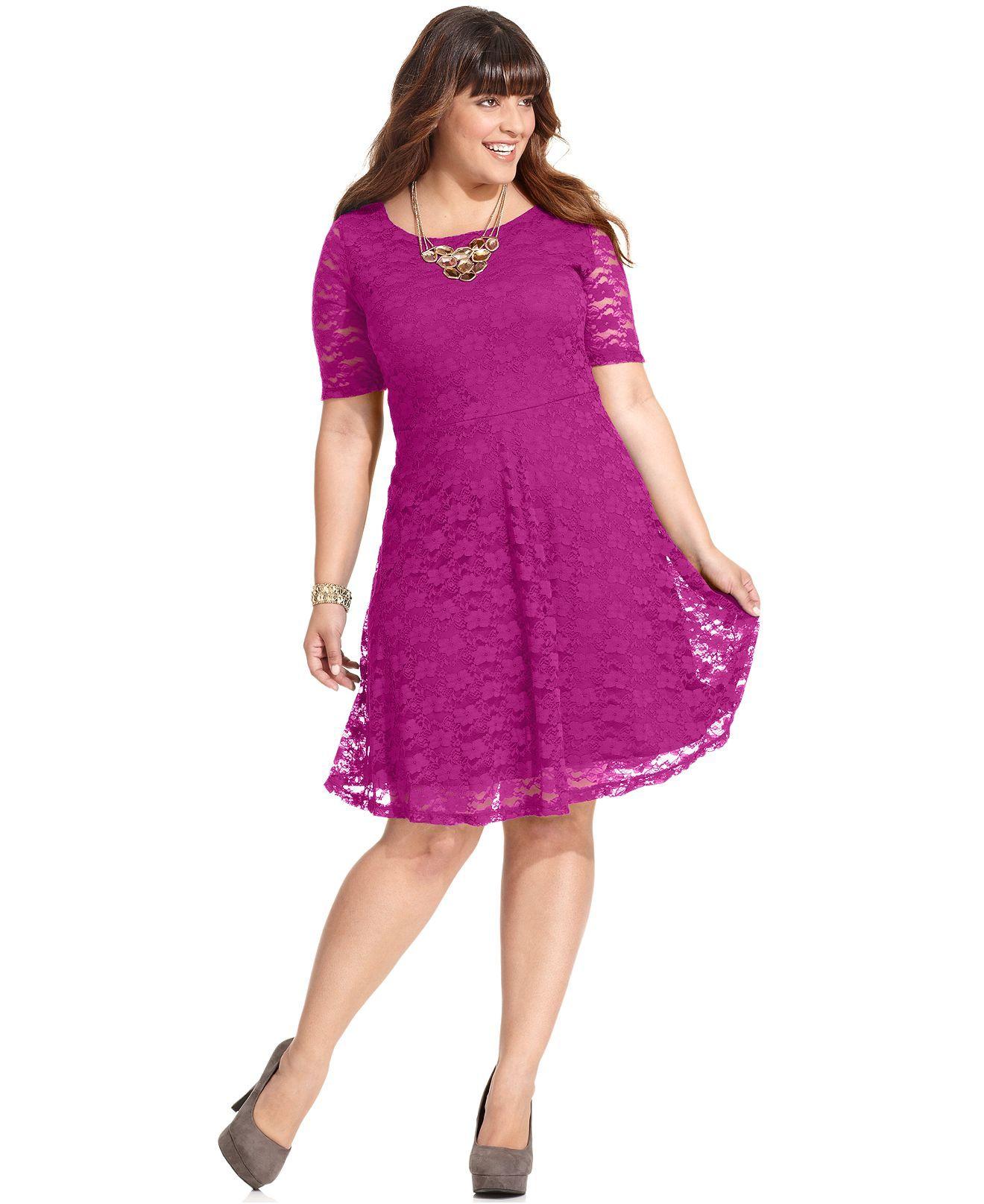 Lace dress macys  Love Squared Plus Size Dress ShortSleeve Lace ALine  Plus Size