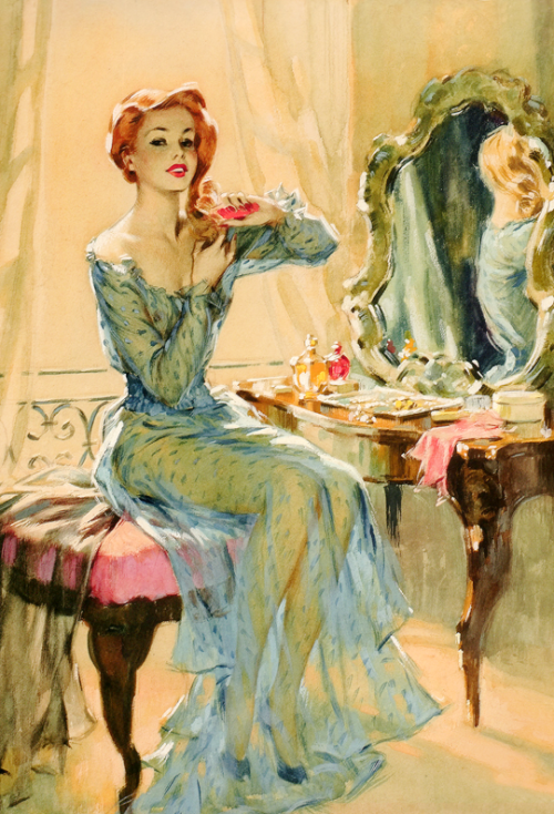 """vintagegal:""""Girl at Dressing Table"""" by David Wright c. 1947"""