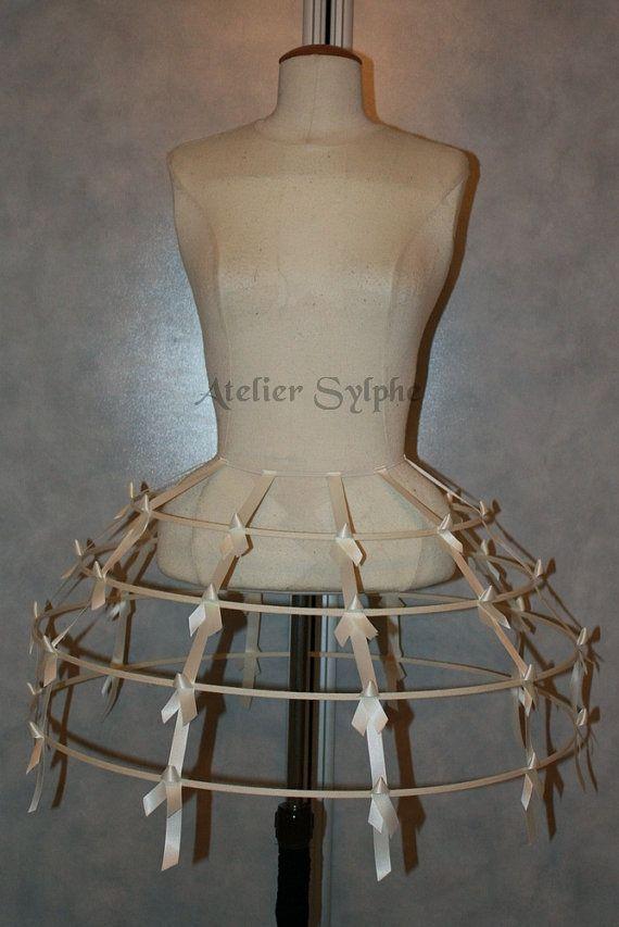 ivory color Crinoline hoop skirt panier 4 rows elastic waist and satin ribbon cage