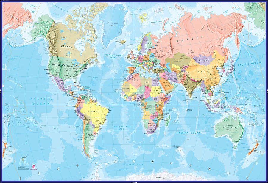 Giant world map mural blue ocean gumiabroncs Gallery