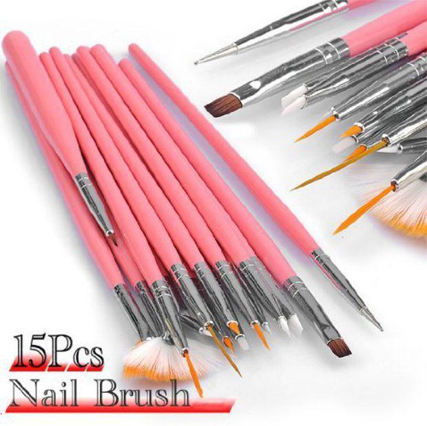 15pc Nail Art Design Dotting Brush Painting Pen Tool Set Pink Stick DIY Fit Tips