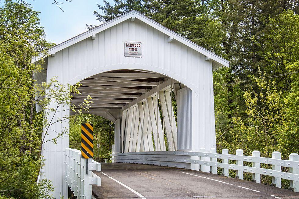 Photographing Oregon Larwood Covered Bridge, near Scio, Linn County, Oregon