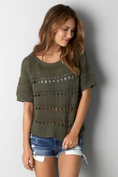 Aeo Open Knit Short Sleeve Sweater By Aeo A Relaxed Summer Sweater