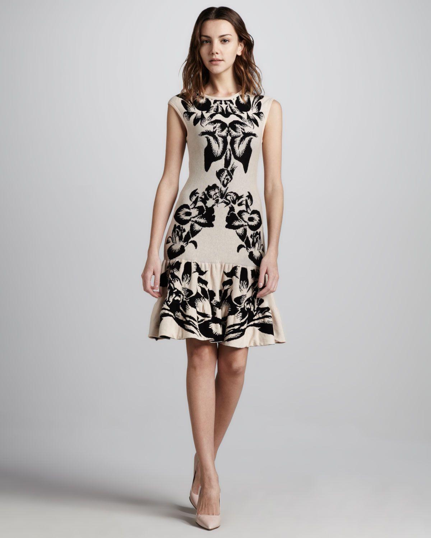 015c16e556 Mcq By Alexander Mcqueen Floral Intarsiaknit Dress in Black (tan black) -  Lyst