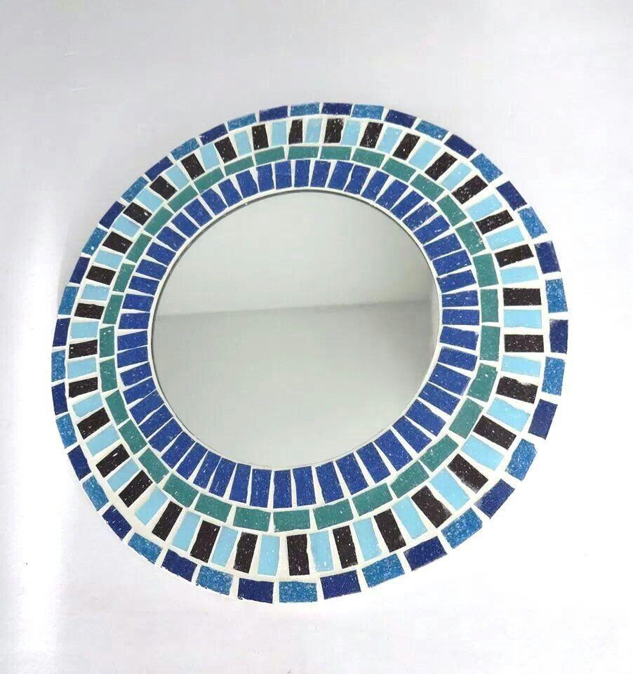 Espejo redondo azul 30cm di metro venecitas for Mosaicos para espejos