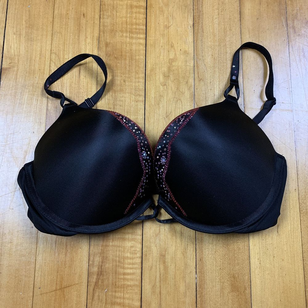 7e128aa555 Victoria s Secret Bombshell Plunge Bra 34C Adjustable Adds 2 Cups Black  Jewels  fashion  clothing