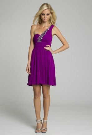 Homecoming and Prom Dresses - One Shoulder Purple Short Dress with ...