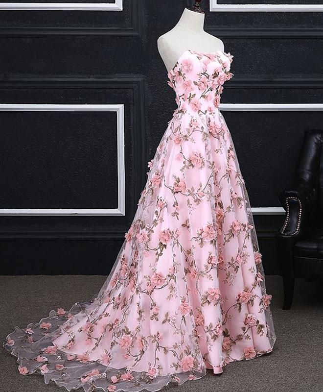 Pink Prom Dresses A-line Sweetheart Sweep Train Floral Print Long ...
