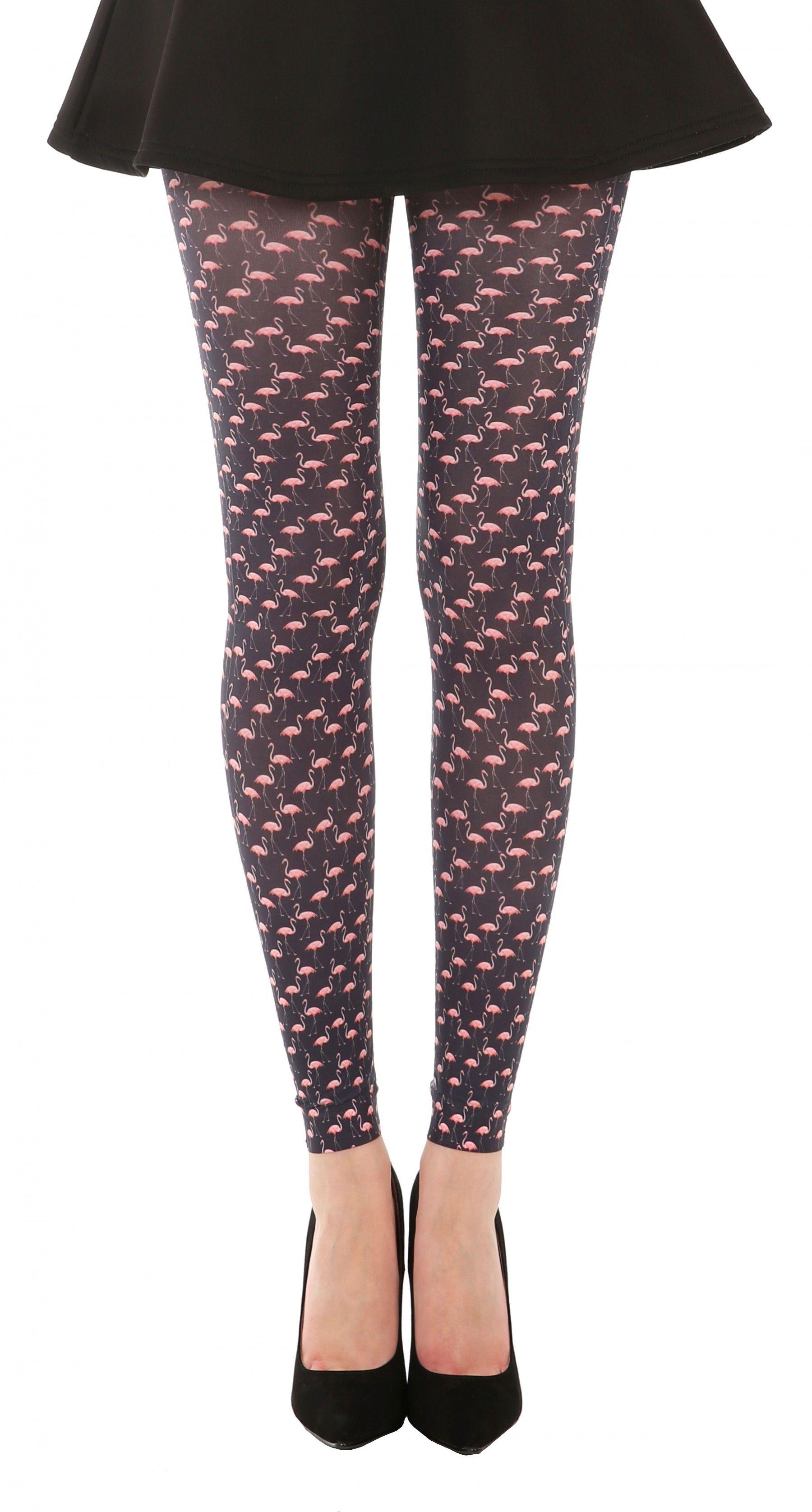 a174c3133383e Flamingo Printed Footless Tights (Black/Pink) - Pamela Mann | My ...