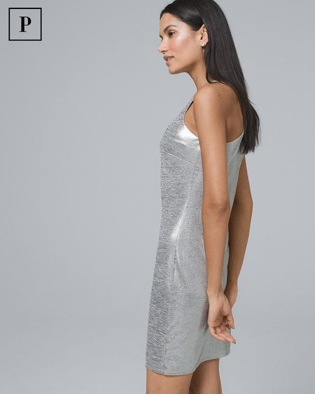 79809daf71 Women s Petite Metallic Halter Dress by White House Black Market in ...