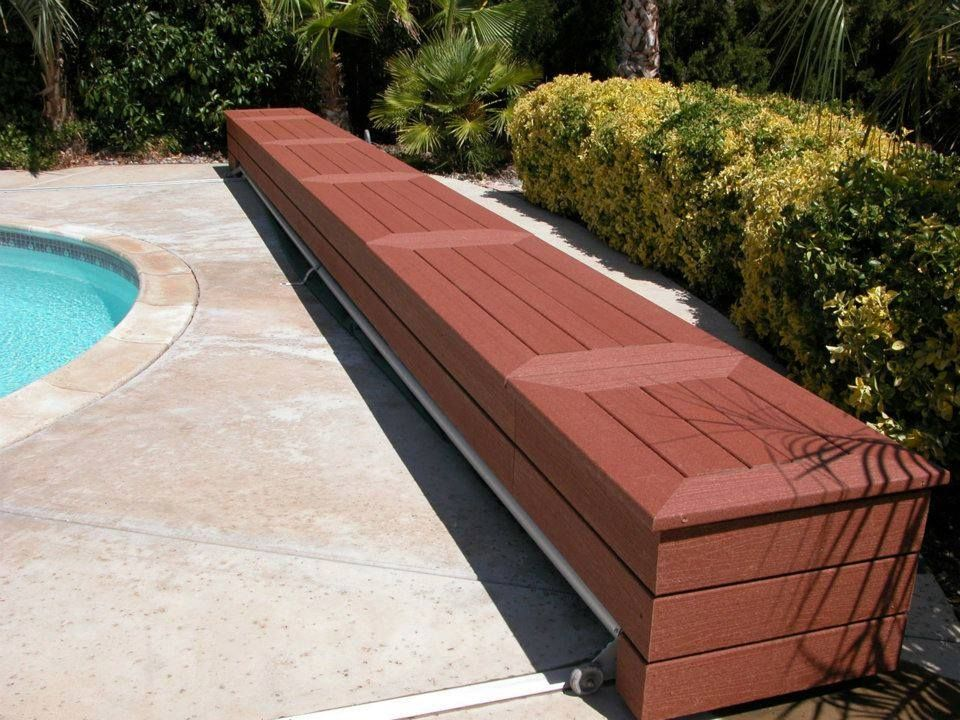 Great Idea Build A Composite Deck Bench That Holds A Pool Cover Choicedek Pool Cover Swimming Pools Backyard Backyard Pool
