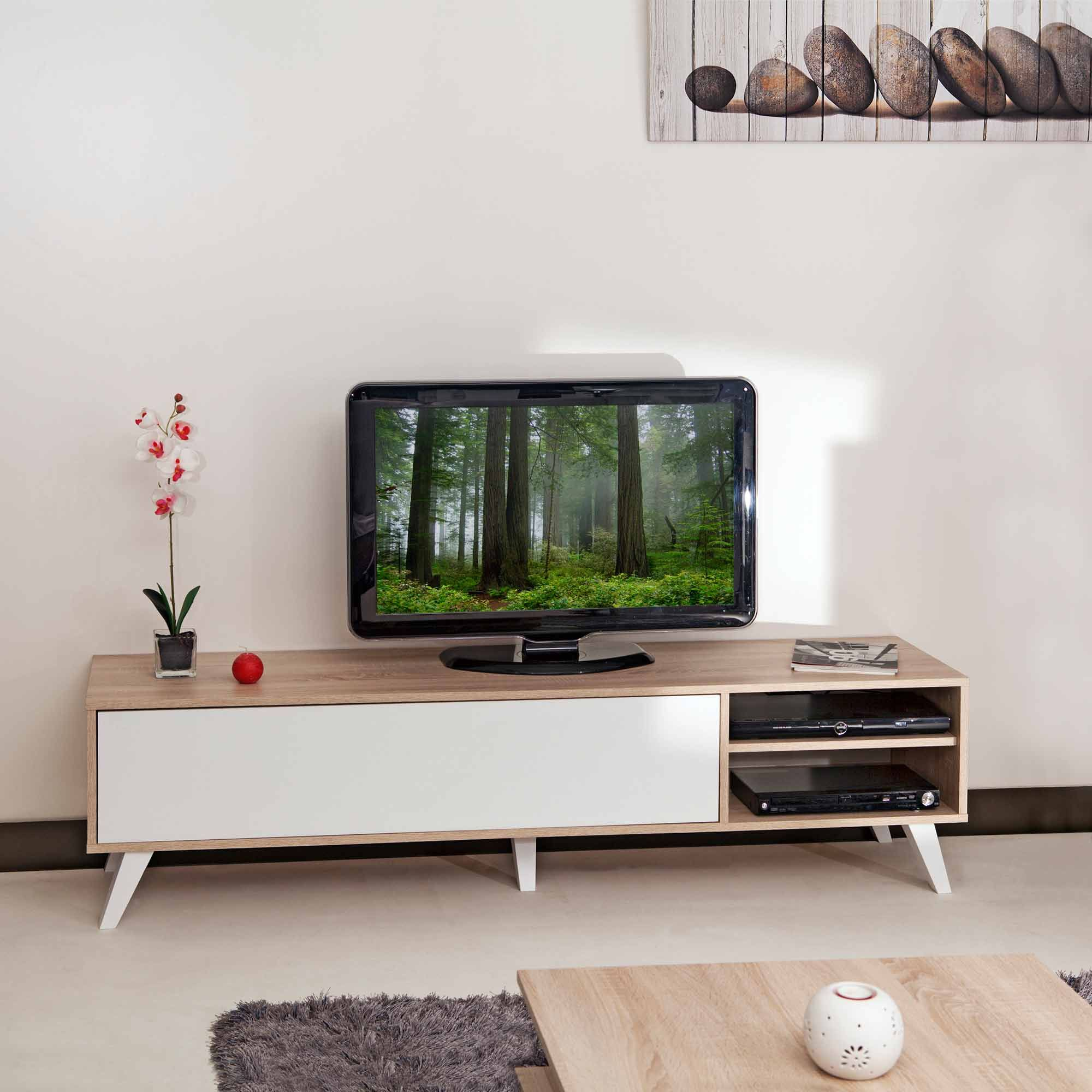 meuble tv bas avec 1 abattant et 2 niches torsten port offert meuble tv pinterest. Black Bedroom Furniture Sets. Home Design Ideas