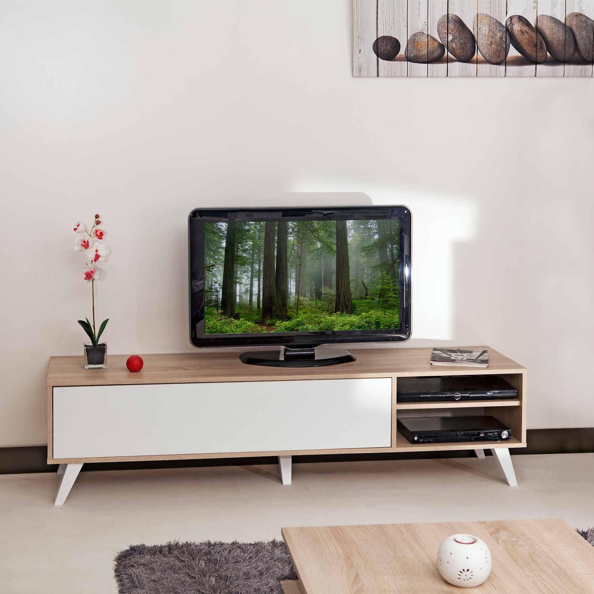 Meuble tv bas en bois avec 1 abattant et 2 niches prism tvs - Meuble tv avec niche ...