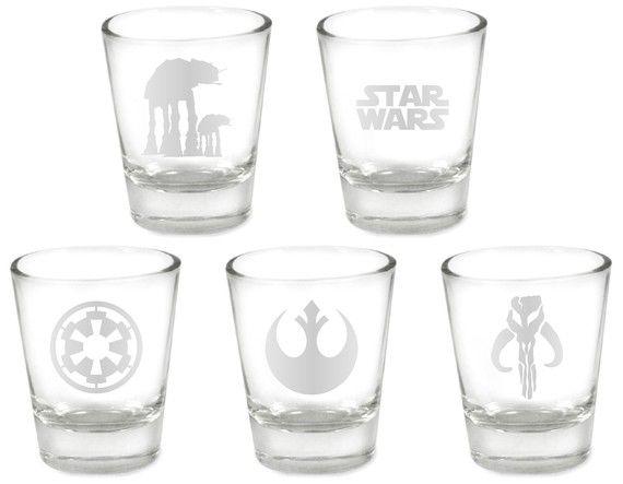 Star Wars Custom Etched 5pc Shot Glass Set Star Wars Kitchen