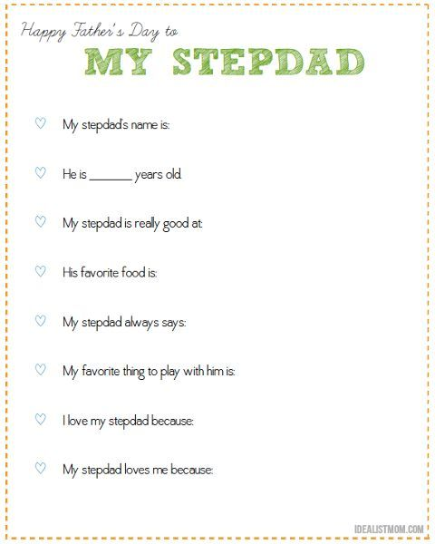 Looking For A Special Way To Celebrate Fathers Day For A Stepfather Click For A Free Printable Your Kid Can Give As A Gift To Their Stepdad