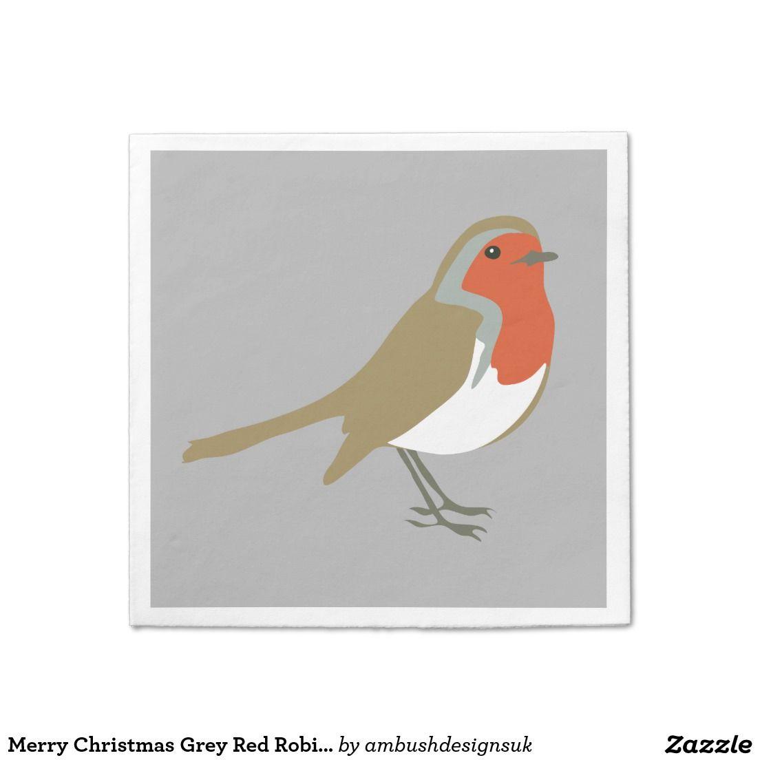 merry christmas grey red robin napkins serviettes paper serviettes - Is Red Robin Open On Christmas