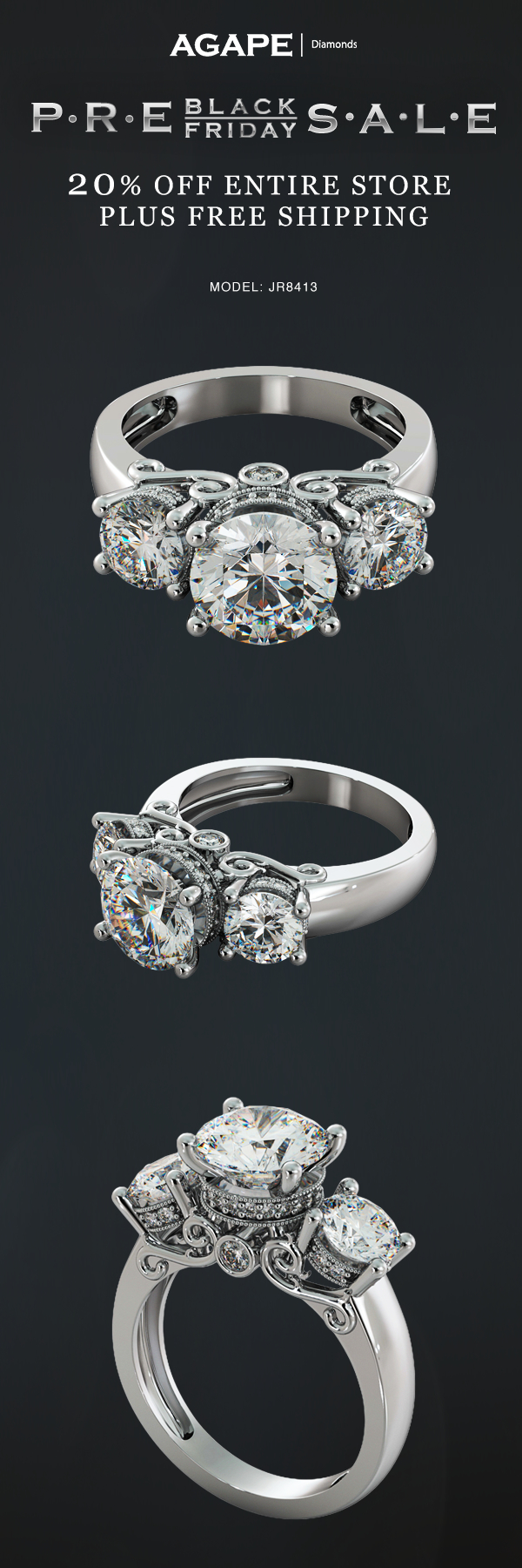 One of our Feature Engagement Rings for our Pre Black Friday Sale 20