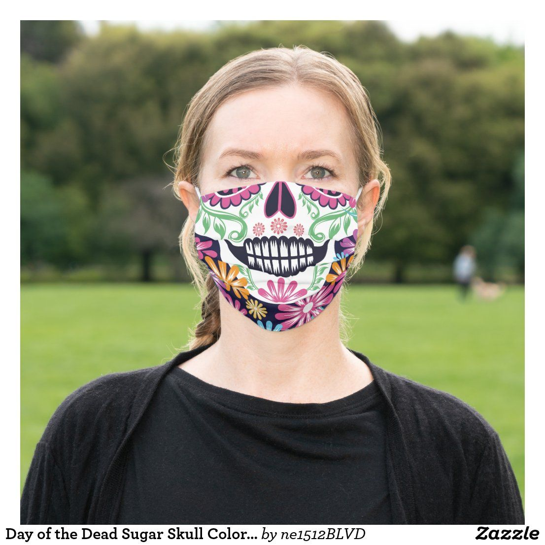Day of the Dead Colourful Hair Wrap Pink Candy Skull Head Scarf