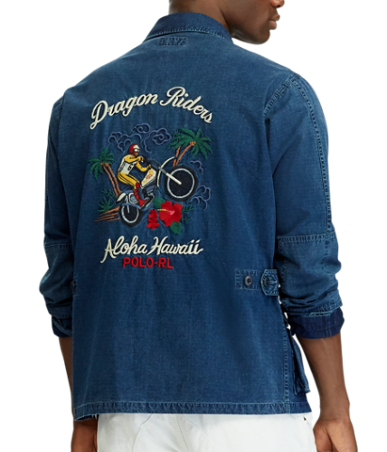 Ralph Aloha Polo Men Embroidery Dyed Moto Rider Indigo Lauren Hawaii N8Ov0mnw