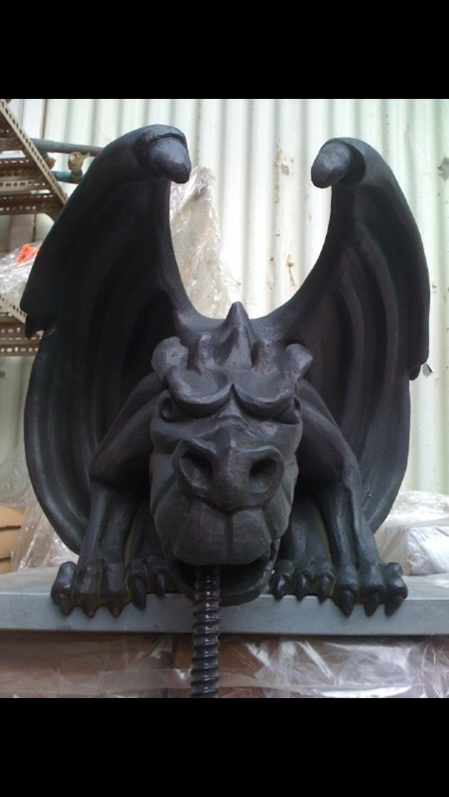 Black gargoyle with water spout fitting. Made by Gargoyles and Dragons in Melbourne.  #gargoyle#waterfeature