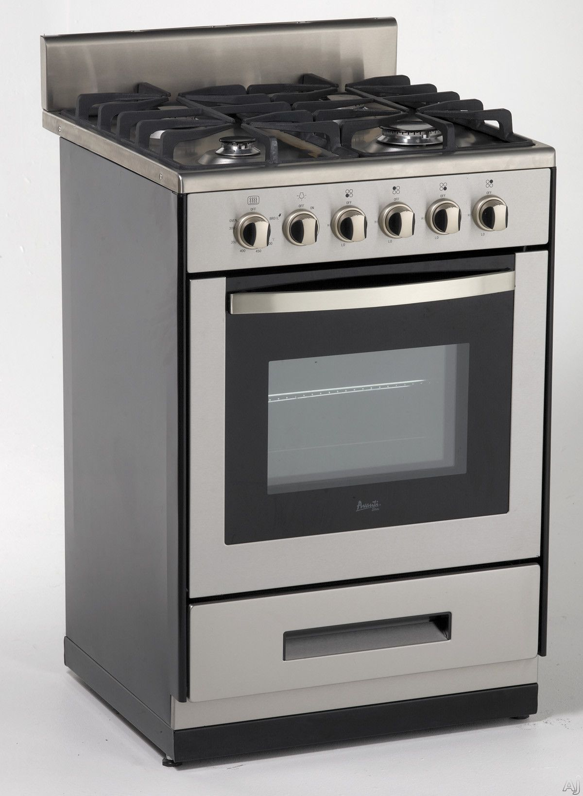 Avanti Dg2450ss1 24 Freestanding Gas Range With 4 Sealed Burners Cast Iron Grates Simmer Burner Manual Clean Oven Roll Oven Cleaning Oven Racks Gas Range