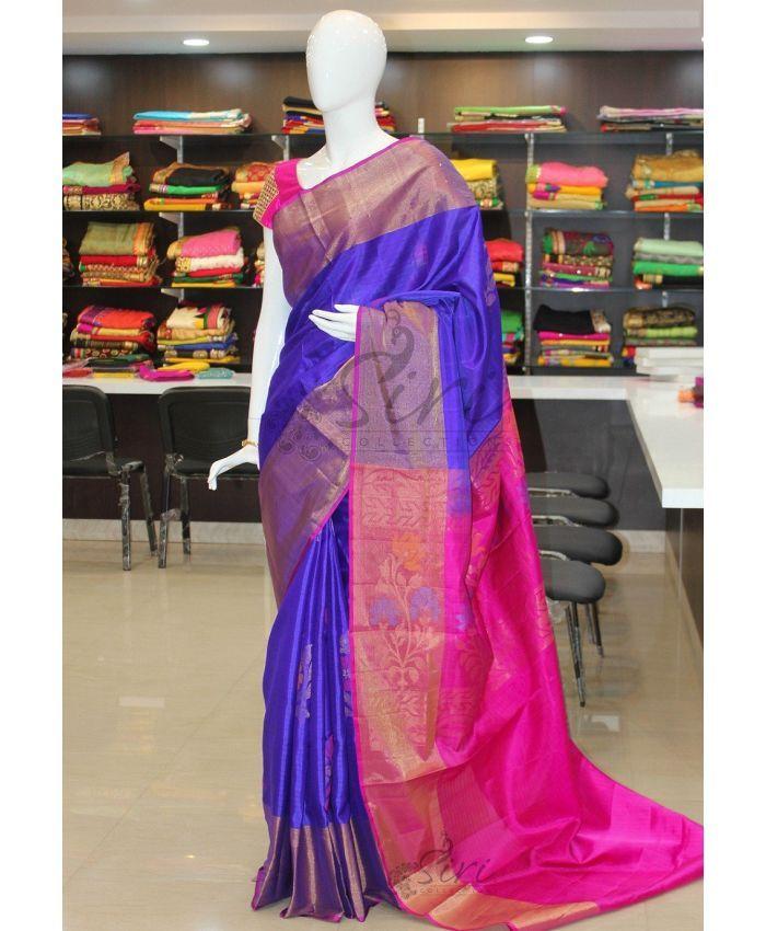 d6fb8f10c28738 Pure Uppada Silk Saree in Royal Blue and Pink with Big Rich Zari Border