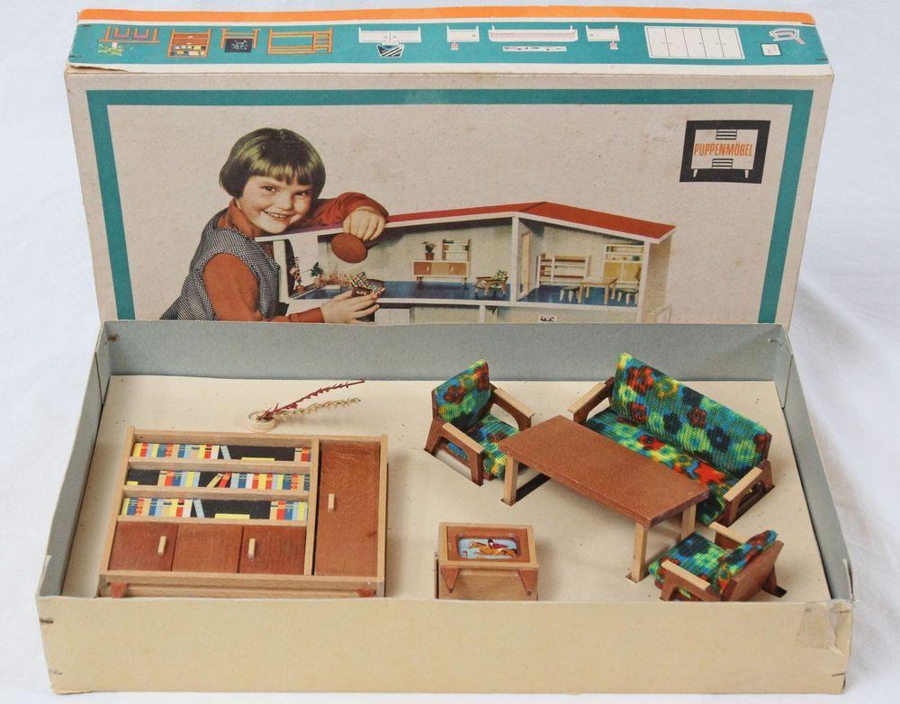 Rare Mid Century Modern Dollhouse Furniture Set Puppen Mobel Original Box  German. Rare Mid Century Modern Dollhouse Furniture Set Puppen Mobel