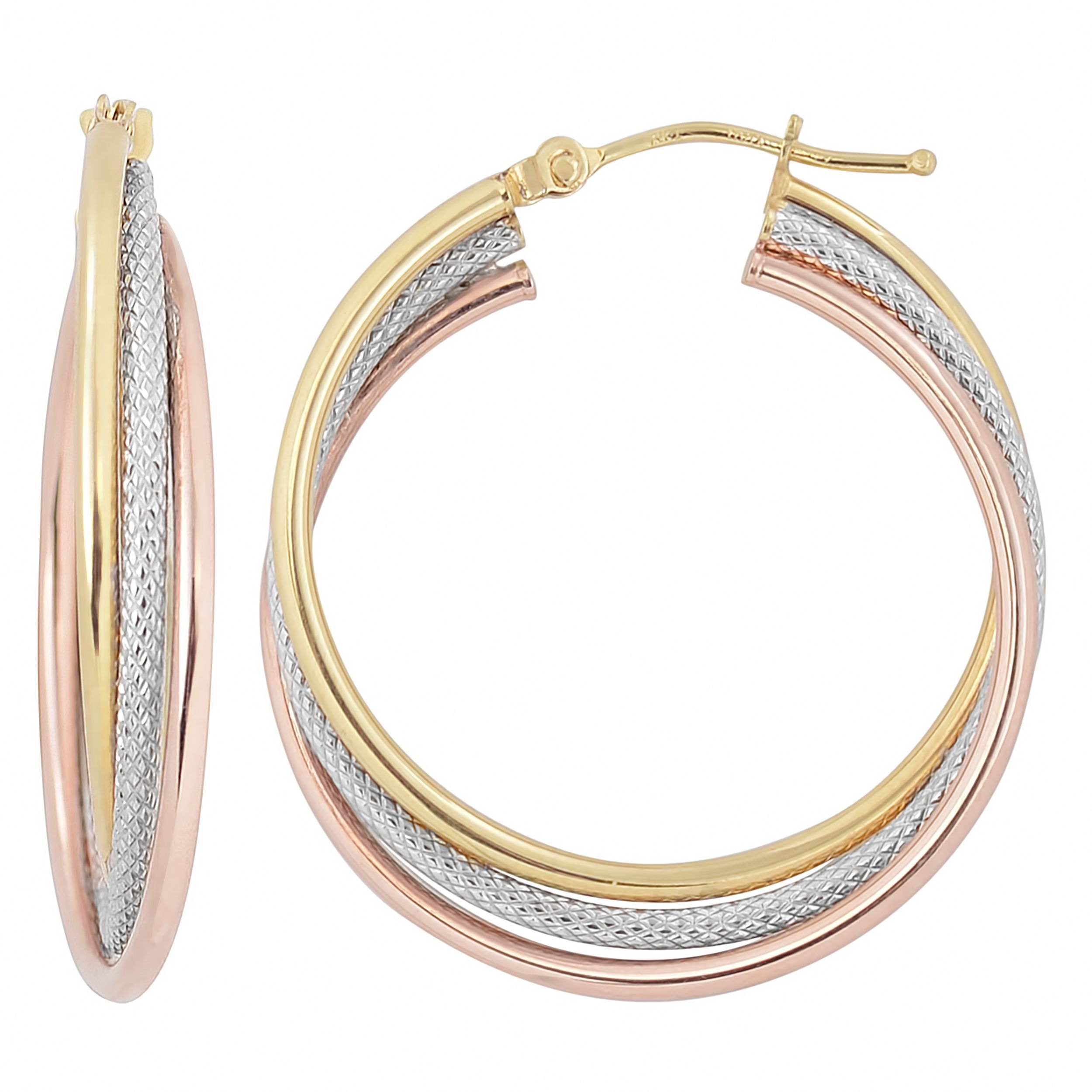 10K Two Tone Gold Textured Intertwined Round Hinged Hoop Earrings