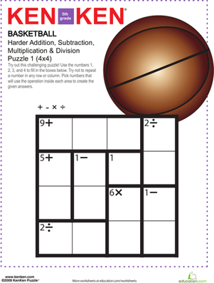 Basketball Kenken Puzzle Worksheet Education Com Studying Math Math Lessons Math