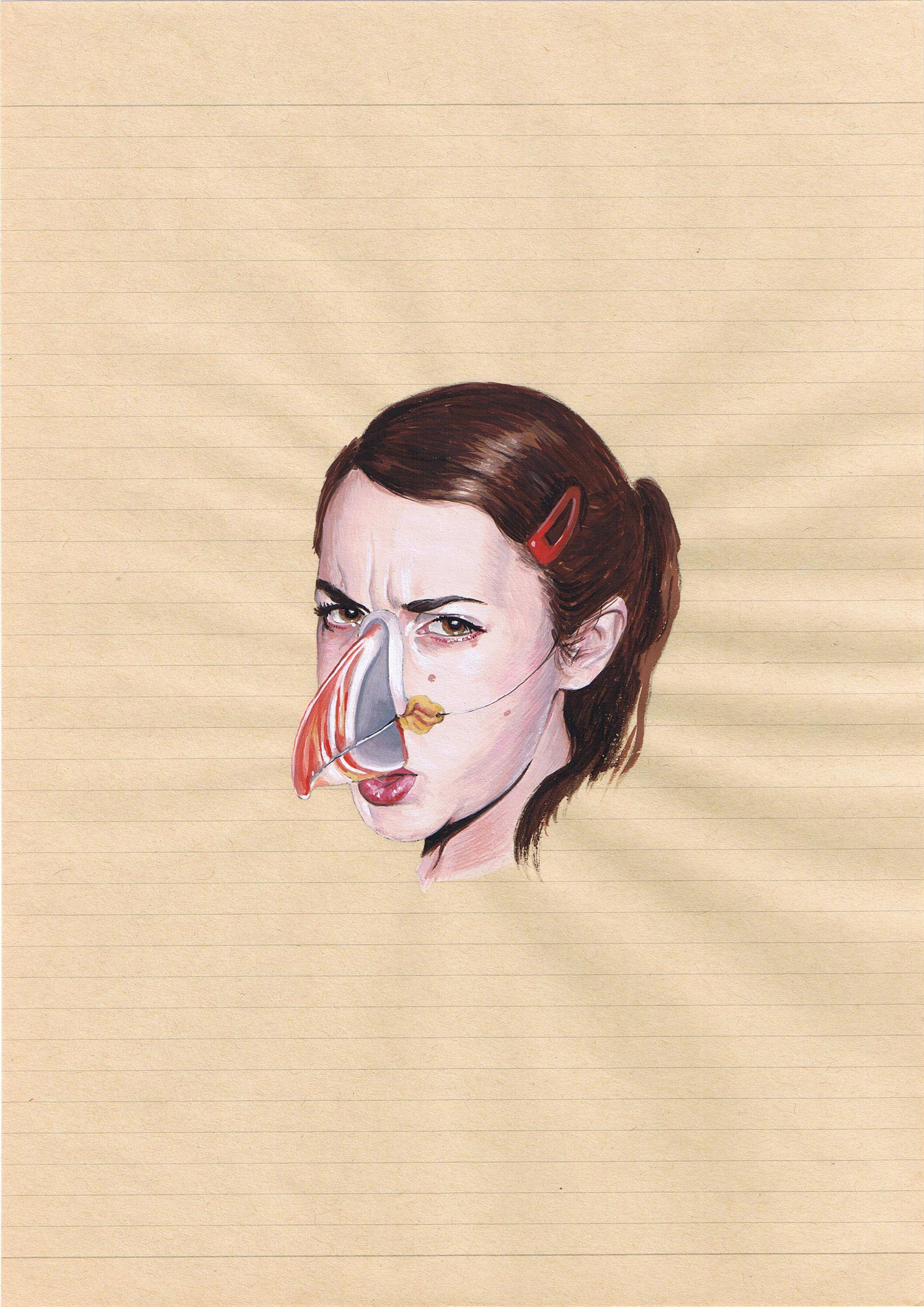 La verdad sobre las máscaras (Frailecillo), 2008, gouache/papel.