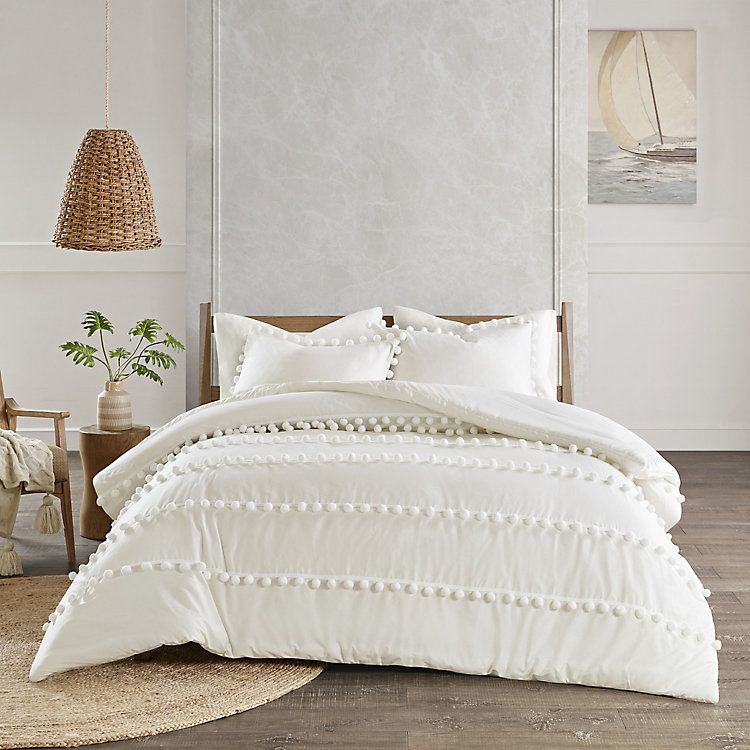 Madison Park Tracie 3 Piece Pom Pom Cotton Comforter Set In 2021 Comforter Sets Cotton Comforter Set Duvet Cover Sets