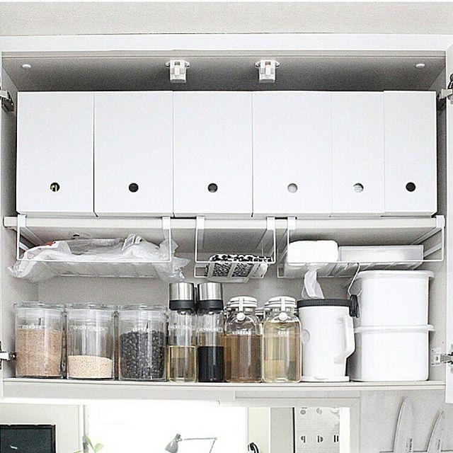 おしゃれで使いやすいキッチン収納アイデア60選 キッチン 吊り戸棚