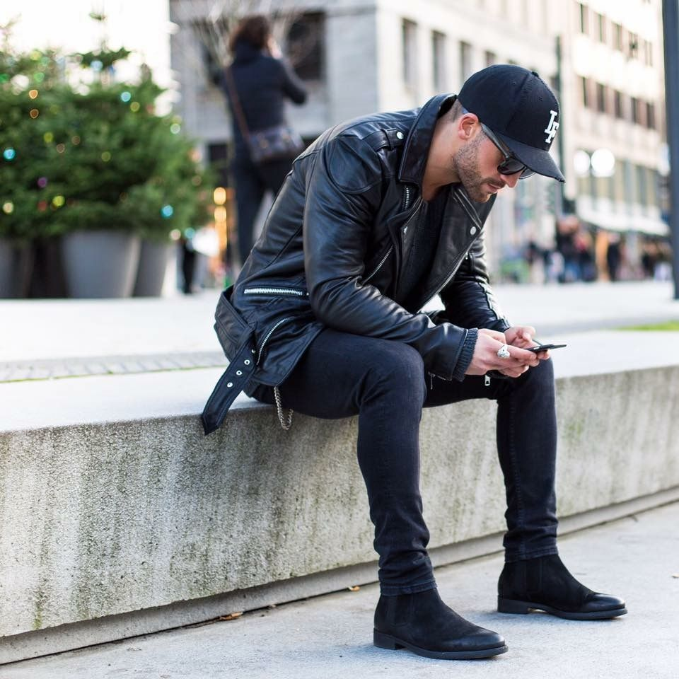 Chelsea boots all black men street style brought to you by Tom Maslanka