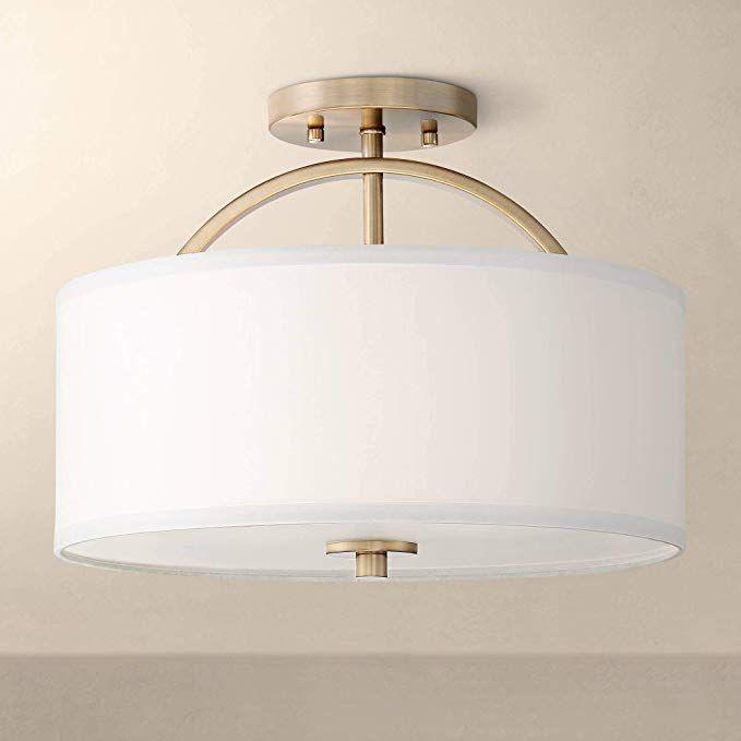 Halsted Modern Ceiling Light Semi Flush Mount Fixture Warm Brass