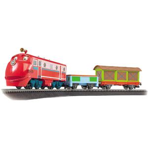 """Bachmann Trains Chuggington Wilson's Freight Adventures HO Scale Ready-to-Run Electric Train Set: -Wilson locomotive with operating headlight -Low-sided gondola -Box car -36"""" circle of snap-fit E-Z Track -Power pack and speed controller -Illustrated instruction manual -Adult assembly required"""