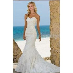 ella wedding dresses beach trumpet mermaid organza gown custom style 5468