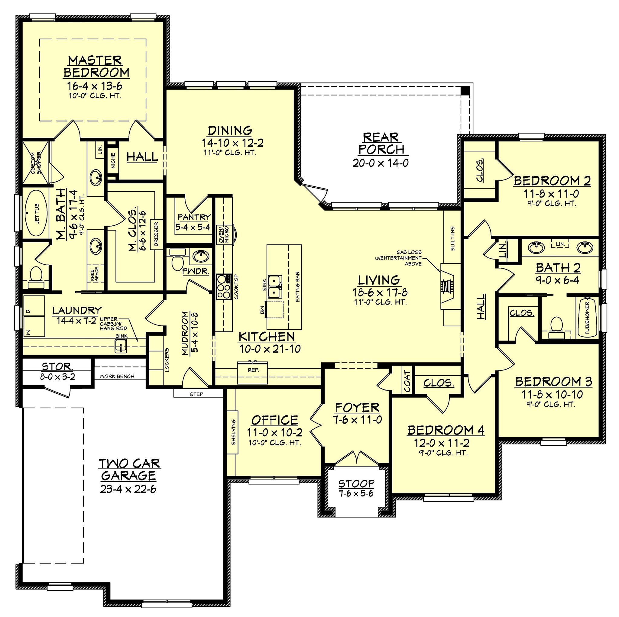 remarkable floor plan a 2 bedroom house house floor plan design The wonderful 4 bedroom 2.5 bath home design features high ceilings, open  layout and large rear porch.