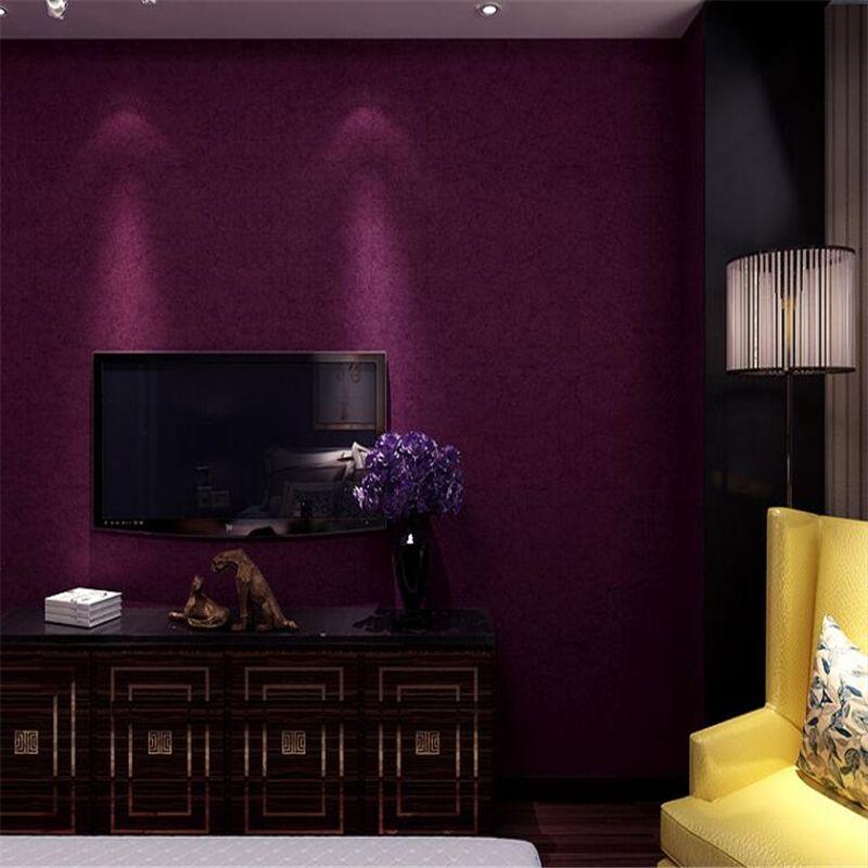 Beibehang Modern Simple Fashion Wall Paper Dark Purple Nonwoven Papel De Parede 3d Wallpaper Bedroom Living Room Background Wallpaper Bedroom Modern Wallpaper