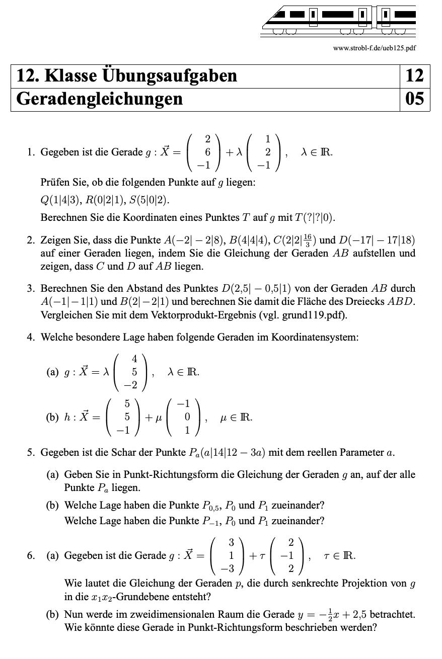 Analytische Geometrie Geradengleichungen Aufgaben Mit Losungen Pdf Download Analytische Geometrie Nachhilfe Mathe Mathe Formeln